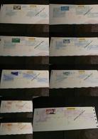 Lot De 9 Chèques La Poste (CCP) - SPECIMEN - Illustrations Poste Aérienne - Tous Différents - Chèques & Chèques De Voyage