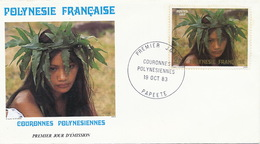 First Day Cover Tahiti Papeete 1983  Couronnes  Polynesiennes  Jeune Fille Vahiné - Polynésie Française