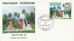 First Day Cover Tahiti Papeete 1983  Brasiliana   Jeune Fille Vahiné Danseuses - Polynésie Française