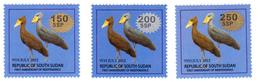 SOUTH SUDAN Surcharged Overprints SANS SERIF On 1 SSP Birds Of The 2nd Set SOUDAN Du Sud Südsudan - South Sudan