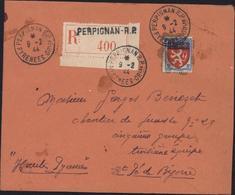 YT 572 Blason Lyon Seul S Lettre Recommandée 2ème échelon Perpignan 9 2 44 Pour Chantier Jeunesse N29 St Pé De Bigorre - Postmark Collection (Covers)