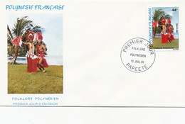 First Day Cover Tahiti Papeete 1981 Folklore Polynesien  Danseurs Vahiné - Polynésie Française