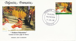 First Day Cover Tahiti Papeete 1981 Folklore Polynesien   Vahiné Jupe De Danse - French Polynesia