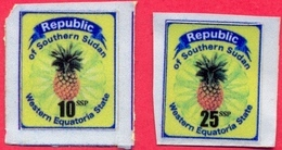 SOUTH SUDAN Südsudan 10 & 25 SSP Revenue / Fiscal Stamps Western Equatoria State Pineapple Timbres Fiscaux Soudan Du Sud - South Sudan