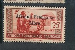 "FRANCE AEF ""FRANCE LIBRE"" MAURY 143  MINT PARAFIN GUM LITTLE RUST ROUSSEUR - A.E.F. (1936-1958)"