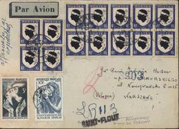 Recommandé De Fortune LR 113 Par Avion Pour Varsovie 21 X 1946 YT 755 X35 + 757 + 761 + 762 + 717x2 CAD St Flour 13 9 46 - Marcophilie (Lettres)
