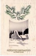 Herzlichen Glückwunsch Zum Neuen Jahr 1917 Häuser Im Winter - Prägedruck - Neujahr