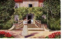 Frau Vor Villa - Abschied V. A. Stolle 1925 Malerei Bild - Paare