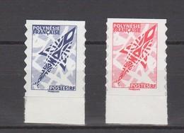 Polynésie. 2 TP AUTOCOLLANTS. PROVENANT DE CARNETS. ROUGE, BLEU VOIR DESCRIPTION. - Libretti