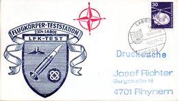 """(FC-3) BRD Cachetumschlag Bundeswehr """"FLUGKÖRPER-TESTSTATION 2304 LABOE - LFK-TEST"""" EF Mi 849 SSt 9.12.1977 LABOE - BRD"""