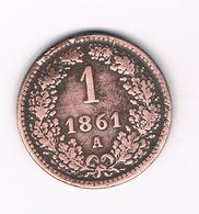 1  KREUZER 1861 A  OOSTENRIJK /5892/ - Autriche