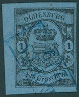 OLDENBURG 6a O, 1859, 1 Gr. Schwarz Auf Hellblau, Linkes Randstück Mit Blauem R2 VECHTA, Pracht - Oldenburg