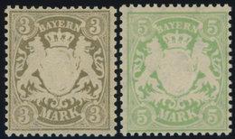 BAYERN 69/70x *, 1900, 3 Und 5 M, Mattorangeweißes Papier, Wz. 3, Falzrest, Pracht, Mi. 60.- - Bayern