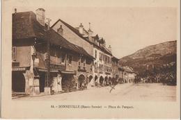 Bonneville  74   La Place Du Parquet-Café Des Postes Et Arcades Animés - Bonneville