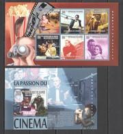 BC434 2010 GUINEE GUINEA FAMOUS PEOPLE ACTORS CINEMA STARS 1KB+1BL MNH - Cinéma
