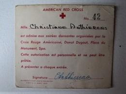 Belgique - Spa - American Red Cross - Carte De Membre - 1945 - Documents