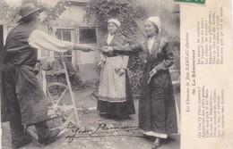 """18. VIERON (ENVOYE DE). CPA  . LES CHANSONS DE JEAN RAMEAU ILLUSTRÉES. RARETÉ.  """" LE RÉMOULEUR """". ANNEE 1913 + TEXTE - Vierzon"""