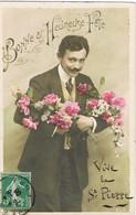 33436. Postal Romantica Vintage VERNON (Eure) 1908. Felicitacion Caballero - Francia
