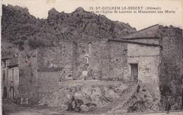 34 / ST GUILHEM LE DESERT / RUINES DE L EGLISE ST LAURENT ET MONUMENT AUX MORTS - France