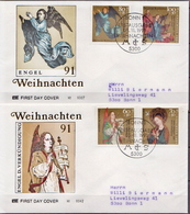 Germany Set On 2 Used FDCs From 1991 - Christmas