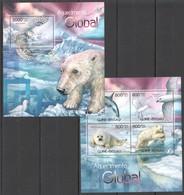 BC454 2012 GUINE GUINEA-BISSAU FAUNA BIRDS ANIMALS CLIMATE CHANGE AQUECIMENTO GLOBAL KB+BL MNH - Postzegels