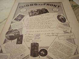 ANCIENNE PUBLICITE GIBBS AU FRONT 1916 - 1914-18