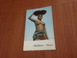 MEILLEURS VOEUX - Carte Photo Femme Africaine Seins Nus  (port à Ma Charge ) - Nouvel An