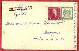 WWI - OCCUPATION OF SERBIA - Gracac Bei Kraljevo To Belgrad -Censuriert - 8+3 Heller 10.1917 - PI2107/15 - Stamped Stationery