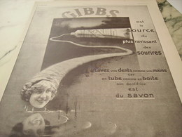 ANCIENNE PUBLICITE DENTIFRICE GIBBS 1916 - Perfume & Beauty