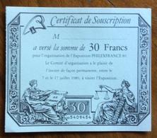 EXPOSITION PHILEXFRANCE 89  CERTIFICAT DE SOUSCRIPTION DE 30FRANCS - Universal Expositions