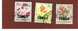 CONGO (KINSHASA) -  SG 365.374  -  1960 FLOWERS OVERPRINTED CONGO   - USED ° - Repubblica Del Congo (1960-64)