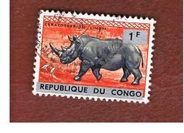 CONGO (KINSHASA) -  SG 519  -  1964 WHITE RHINOCEROS OVERPRINTED   - USED ° - Repubblica Del Congo (1960-64)