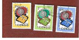 CONGO (KINSHASA) -  SG 449.451  -  1962  MALARIA ERADICATION (COMPLET SET OF 3)    - USED ° - Repubblica Del Congo (1960-64)