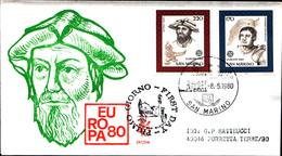 12818a)F.D.C.SERIE COMPLETA SAN MARINO  8-5-80 - FDC