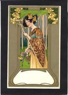 CPA Art Nouveau Type Mucha Kirchner Femme Girl Women Non Circulé - Women