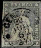 1862, 1 Fr. Weissrandig, Attest, Fr. 1300.-  #2207 - 1854-1862 Helvetia (Non Dentellati)
