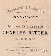 Facture 1880 / Charles RITTER / Houblons Articles De Brasserie / Bière / 70 Gray - France