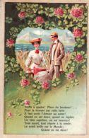 Fant012 Embosseed Carte Relief N°1465 - Couple Amoureux  TREFLE à QUATRE FEUILLES Coeur 1900s - Fantaisies