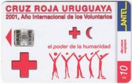 URUGUAY A-349 Chip Antel - Int. Organisation, Red Cross - Used - Uruguay