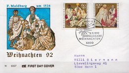 Germany Pair On Used FDC From 1992 - Christmas