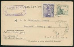 Sabadell. TP Tampón Comercial *Jaime Pont. Sabadell* Circulada 1948. - Spagna