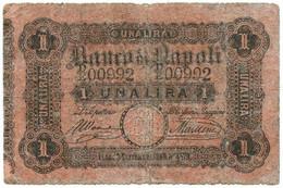 1 LIRA BANCO DI NAPOLI - FEDE DI CREDITO 03/09/1868 MB+ - [ 1] …-1946 : Regno