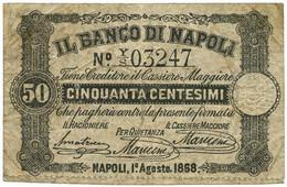 50 CENTESIMI BANCO DI NAPOLI - FEDE DI CREDITO 01/08/1868 QBB - Altri