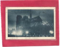 PARIS . LA NUIT . NOTRE-DAME . JOLI AFFR AU VERSO DU 16 MAI 1929 . 2 SCANES - France