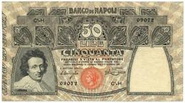 50 LIRE BANCO DI NAPOLI - BIGLIETTO AL PORTATORE 13/12/1914 BB+ - Altri