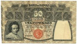 50 LIRE BANCO DI NAPOLI - BIGLIETTO AL PORTATORE 23/02/1911 BB+ - Altri