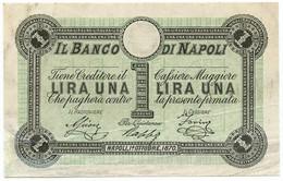 1 LIRA CAMPIONE BANCO DI NAPOLI FEDE DI CREDITO 5° TIPO 01/10/1870 MB/BB - Altri