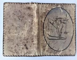 Protège Livre Ancien En Tissu Motif - Télémark - Ski Nordique - Libros, Revistas, Cómics