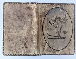 Protège Livre Ancien En Tissu Motif - Télémark - Ski Nordique - Otros Accesorios