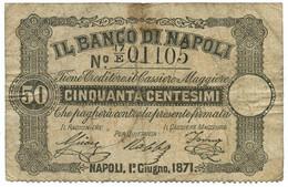 50 CENTESIMI BANCO DI NAPOLI - FEDE DI CREDITO 01/06/1871 BB - Altri